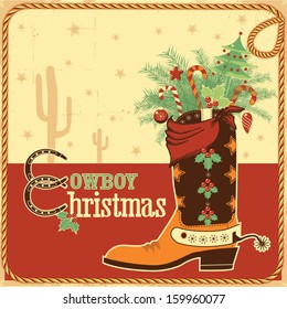 Cowboy christmas card with text and cowboy western boot.Vector illustration