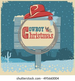 Cowboy christmas card with western hat  and text on wood board.Vector american illustration background