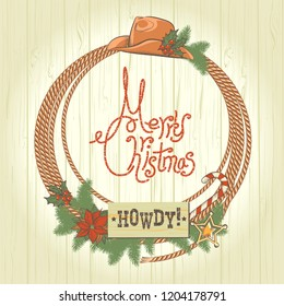 Cowboy christmas wreath with western cowboy decoration. Vector illustration