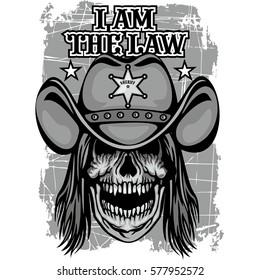 cowboy coat of arms with skull, grunge vintage design t shirts