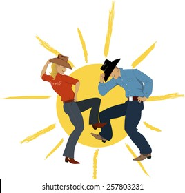 Cowboy couple dancing with a sun on the background, vector illustration, no transparencies, EPS 8