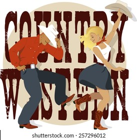 Cowboy and cowgirl dancing country western dance, words country western on the background, vector illustration, no transparencies, EPS 8
