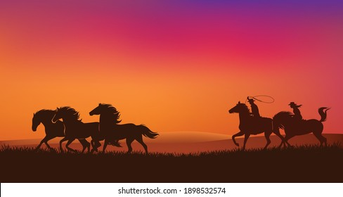 cowboy and cowgirl riders chasing mustang horses herd and throwing lasso - romantic wild west sunset landscape scene vector silhouette design