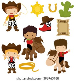 Cowboy and cowgirl vector illustration