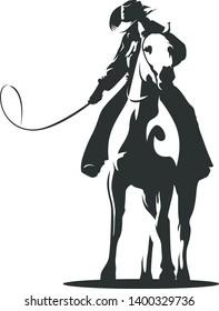 cowboy drawing vector logo illustration