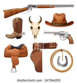 Cowboy elements set with saddle hat horseshoe skull isolated vector illustration