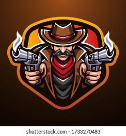 Cowboy esport mascot logo design