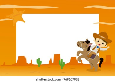 Cowboy in the far west. Photo Frame for Kids. Vector illustration