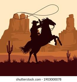 cowboy figure silhouette in horse lassoing in the sunset landscape scene vector illustration design