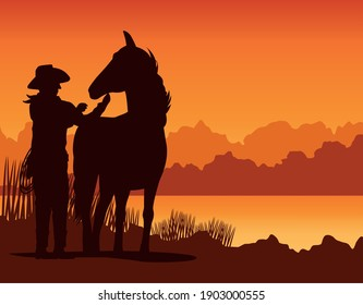 cowboy figure silhouette with horse in the sunset lansdscape scene vector illustration design