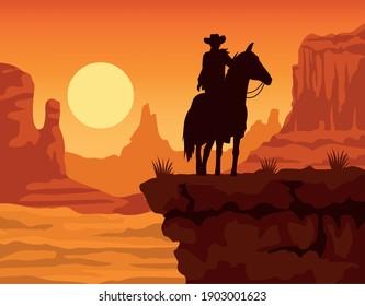 cowboy figure silhouette in horse sunset lansdscape scene vector illustration design