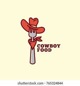 Cowboy food logo template design with a fork in a hat. Vector illustration.