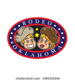 cowboy and cowboy girl logo design with text rodeo oklahoma