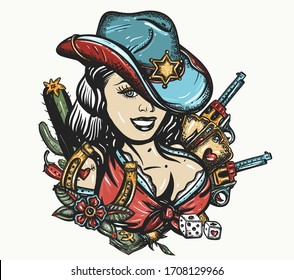 Cowboy girl pin up style. Sheriff woman in hat. Beautiful American woman in national clothes of USA. Wild West concept. Western art. Guns, playing cards and money. Tattoo and t-shirt design