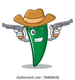 Cowboy green chili character cartoon