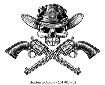 Cowboy grim reaper skull in western hat with star sheriff badge drawing in a vintage retro woodcut etched or engraved style with crossed guns