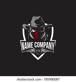 COWBOY WITH GUN LOGO TEMPLATE