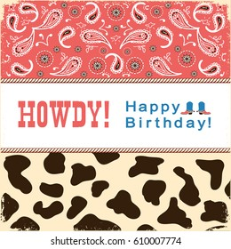 Cowboy happy birthday card with text.Vector child card retro illustration