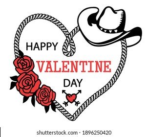 Cowboy Happy Valentine day. Country Farm with Cowboy hat and text rope heart decoration. Printable vector illustration background isolated on white for card or print