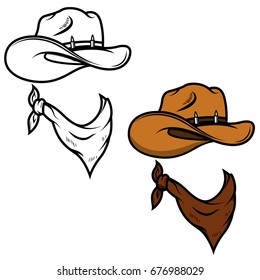 Cowboy hat and bandana isolated on white background. Vector illustration