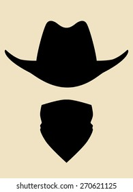 Cowboy hat and bandanna covering face symbol