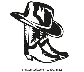 Cowboy hat and boots in black and white
