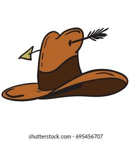 cowboy hat cartoon illustration isolated on white