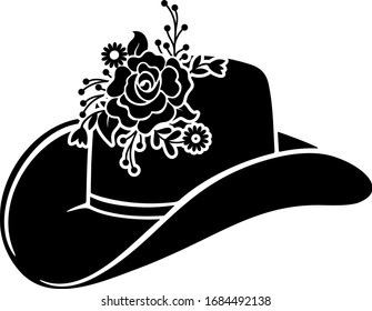Cowboy hat, Cowgirl hat, Cowboy hat isolated on white background, Wild west culture, Cowboy hat icon, vector illustration,