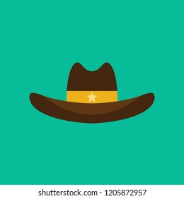 Cowboy hat flat icon isolated on green background. Simple Cowboy element Vector illustration for web and mobile design.