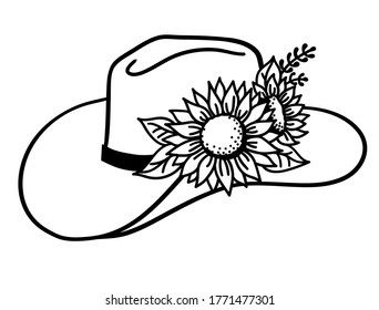 Cowboy hat with flowers. Vector Western hat with sunflowers isolated on white. Cut file Hand drawn illustration