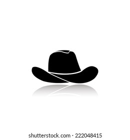 cowboy hat icon - black vector illustration with reflection