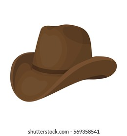 Cowboy hat icon in cartoon style isolated on white background. Rodeo symbol stock vector illustration.