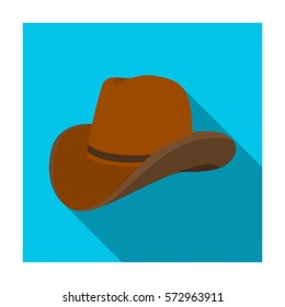 Cowboy hat icon in flat style isolated on white background. Rodeo symbol stock vector illustration.