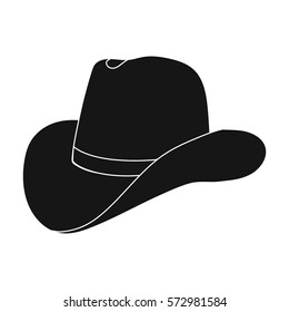 Cowboy hat icon in monochrome style isolated on white background. Rodeo symbol stock vector illustration.