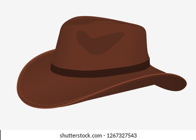 Cowboy Hat Icon. Vector Isolated Object. Side View. Symbol of Wild West