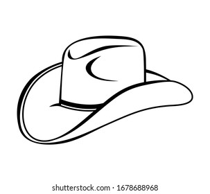 Cowboy hat icon vector isolated on white background.