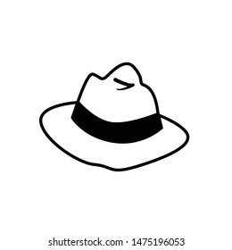 cowboy hat icon, vector cowboy hat silhouette, retro western fashion hat illustration