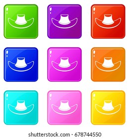 Cowboy hat icons of 9 color set isolated vector illustration
