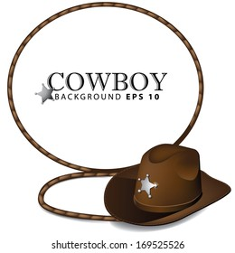 Cowboy hat and lasso leather background. EPS 10 vector, grouped for easy editing. No open shapes or paths.