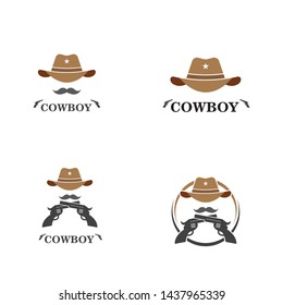 cowboy hat logo icon illustration vector design template