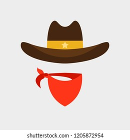 Cowboy hat and scarf flat icon isolated on white background. Simple Cowboy elements Vector illustration for web and mobile design.