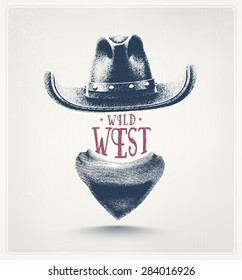 Cowboy hat and scarf, wild west, eps 10