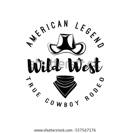 Cowboy hat and scarf. Wild West Label. Rodeo Competition Badge. Western  Illustration. Vector Isolated On White Background - Vector 797db4689604