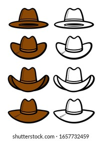 Cowboy hat set. Collection icon cowboy hat. Vector