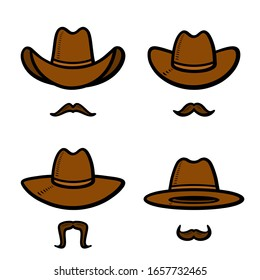 Cowboy hat set. Collection icon cowboy hat. Vector