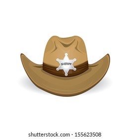 cowboy hat with sheriff star badge. vector illustration.