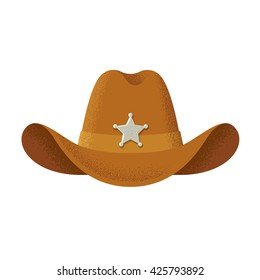Cowboy hat with sheriff star badge, vintage style illustration with texture.