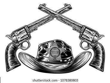 Cowboy hat with sheriffs star badge and a pair of crossed gun revolver handgun six shooter pistols drawn in a vintage retro woodcut etched or engraved style.