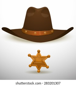 Cowboy hat and sheriff's star, vector