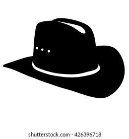 cowboy hat silhouette on white background
